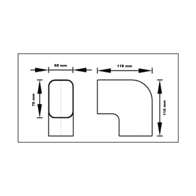 Kurve 90 Grad flach CP 72 EXC für Kanal Klimaanlage Kabelkanal